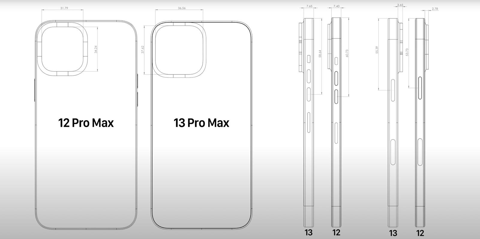 苹果 iPhone 13 Pro Max CAD 图泄露,详细尺寸曝光